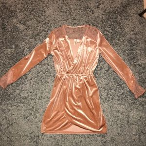 Peach velvet mini dress